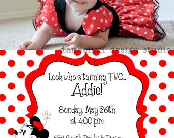 PRINTABLE Photo Invitation - One Photo Invite - Retro Minnie Mouse Party Collection - Dandelion Design Studio
