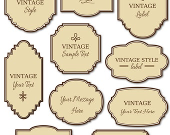 Vintage Labels Clip Art Pack Digital Frames Diy