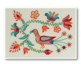 PDF Download - TULIPA BIRD, Crewel work pattern
