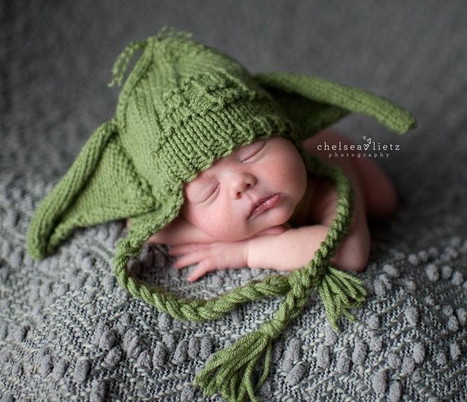 Yoda Baby Hat Knitting Pattern : Baby Yoda Hat Baby Yoda Beanie Star Wars Baby Starwars