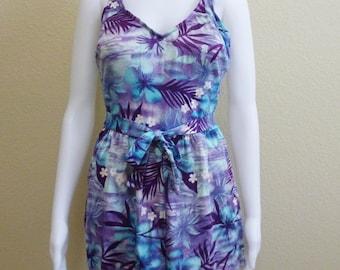 Purple Turquoise Swim Romper Swimsuit Maxine of Hollywood Shorts 12