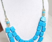 Bright Blue Tile Style Beaded Necklace & Bracelet Set - UniqueCreationsBB