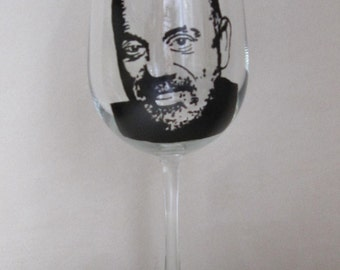 Hand Painted Wine Glass - BILLY JOE - Singer, Song Writer, Pianist and Composer