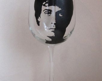 Hand Painted Wine Glass - SYLVESTER STALLONE