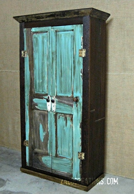 Large Storage Armoire Wardrobe Made From Reclaimed Wood