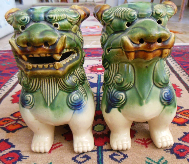 2 Fu Dog Statues Foo Dog Figurines Ceramic By Vintageandgems