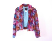 80s vintage Versace jacket with faux fur and crazy colours