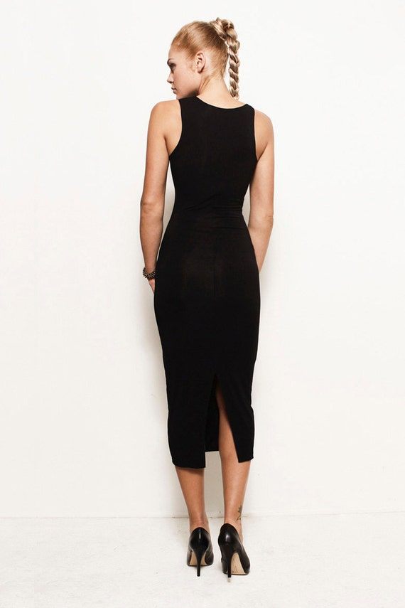 HOLLY Asymmetrical Tank Midi Dress Bodycon by FROCKLosAngeles
