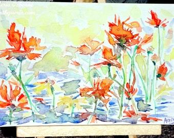Cheerful Orange Poppy Painting, Original Still Life Flower Painting, Watercolor Painting Aeris Osborne, Modern Wall Art, Fine Art, Spring Fl
