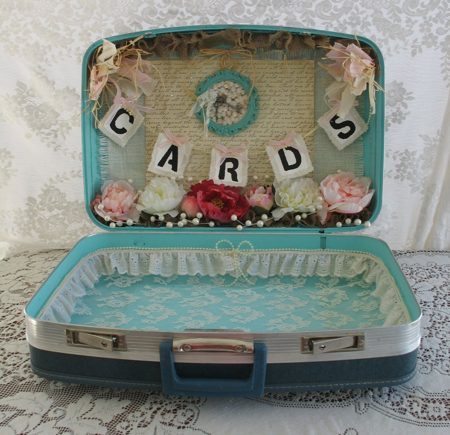 Vintage Suitcase Wedding Card Holder For Country Chic Shabby
