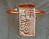 Personalized Feminine Copper Bracelet w/ Tag, EVERYDAY Words Bracelet w/  Pendant, Cuff Bangle