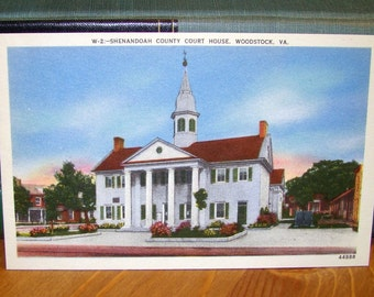 Vintage Postcard, Shenandoah County Court House, Woodstock, Virginia 1930s Paper Ephemera