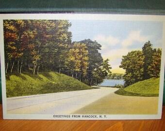 Vintage Postcard, Greetings from Hancock, New York 1940s Linen Paper Ephemera