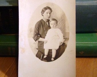Vintage Real Photograph Postcard, A Mother and Her Child 1900s Paper Ephemera