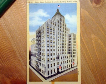 Vintage Postcard, YMCA Building, Dallas, Texas 1940s Linen Paper Ephemera