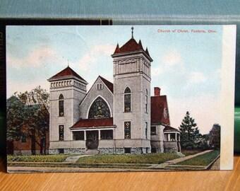 Vintage Postcard, Church of Christ, Fostoria, Ohio, 1910s Paper Ephemera