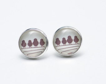 Earstud earrings 4 birds on a wire S1983