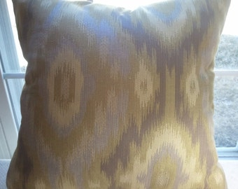 Green and Lavender Ikat Pillow Cover