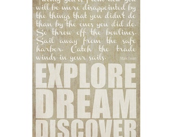 Explore Dream Discover -- Inspirational Mark Twain travel quote wall art print 8 1/2 x 11 in - Original design