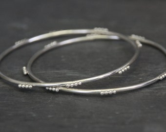 silver bangle bracelet // dotted pattern // eco friendly recycled sterling silver // gift for her