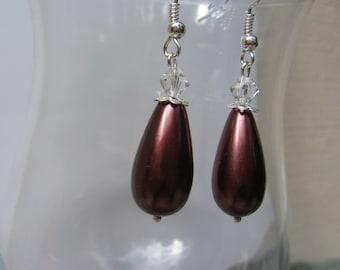 CLEARANCE SALE.  Teardrop Glass Pearl and Crystal Dangle Earrings/Sale Jewelry/Sale Earrings/Drop Earrings/Eggplant Earrings/Gifts for Her