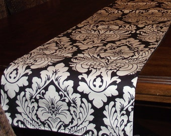 Damask Table Runner in classic black and white