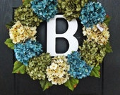 """Large, Full, Customizeable Hydrangea Door Wreath for Spring and Summer, 24"""" Wreath With Monogram"""