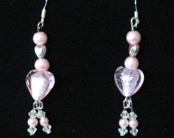 Pink and Silver heart dangle earring