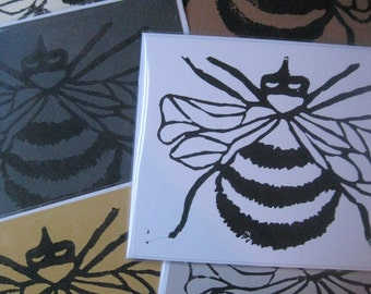 Bumble Bee Lino Block Print Blank Note Cards, Set of 4 (perfect for thank you notes or invitations)