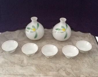 Ceramic Japanese Saki Set With Import Box and Signature