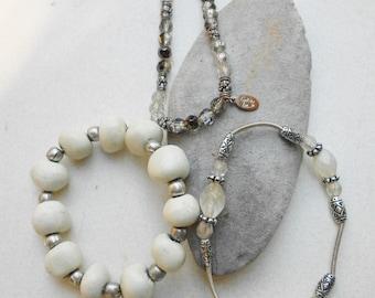 Vintage bracelets, Hipster Bracelets vintage 80s stretch bracelet jasper, glass beads, silver  Free USA Shipping
