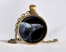 RAVEN PENDANT Black Raven Necklace Goth Jewelry Bird Necklace Steampunk Gift Black Gray Silver Blue Crow Necklace Wizard Pendant