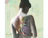 Goddess photomontage art print hand painted Japanese koi tattoo flowers pastels aqua - VoogsArt