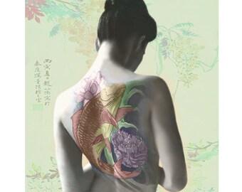 Japanese geisha print, Asian tattoo, photomontage, digital art, photography, tatoo geisha, fine art , modern art, koi fish tattoo, wall art