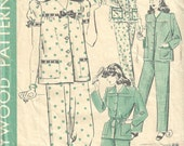 1940's Misses' Two Piece Pyjama Set Sewing Pattern Hollywood 1006, Size 16, Bust 34 Back Yoke, Jacket, Bottoms, Short, Long Sleeves