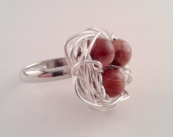 Bird Nest Ring, Brown Jasper Beads in Silver Plated Wire Nest