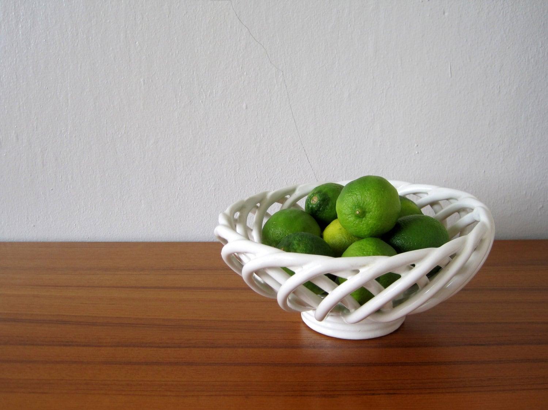 White Ceramic Lattice Fruit Bowl Vintage