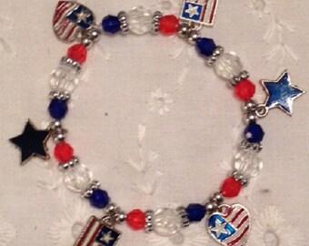 Stars and Stripes forever charm bracelet
