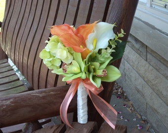 Beach Wedding Bouquet / Destination Wedding / Tropical Wedding / Coral / Ivory / Lime Real Touch Silk Bridal Bouquet / Silk Wedding Flowers