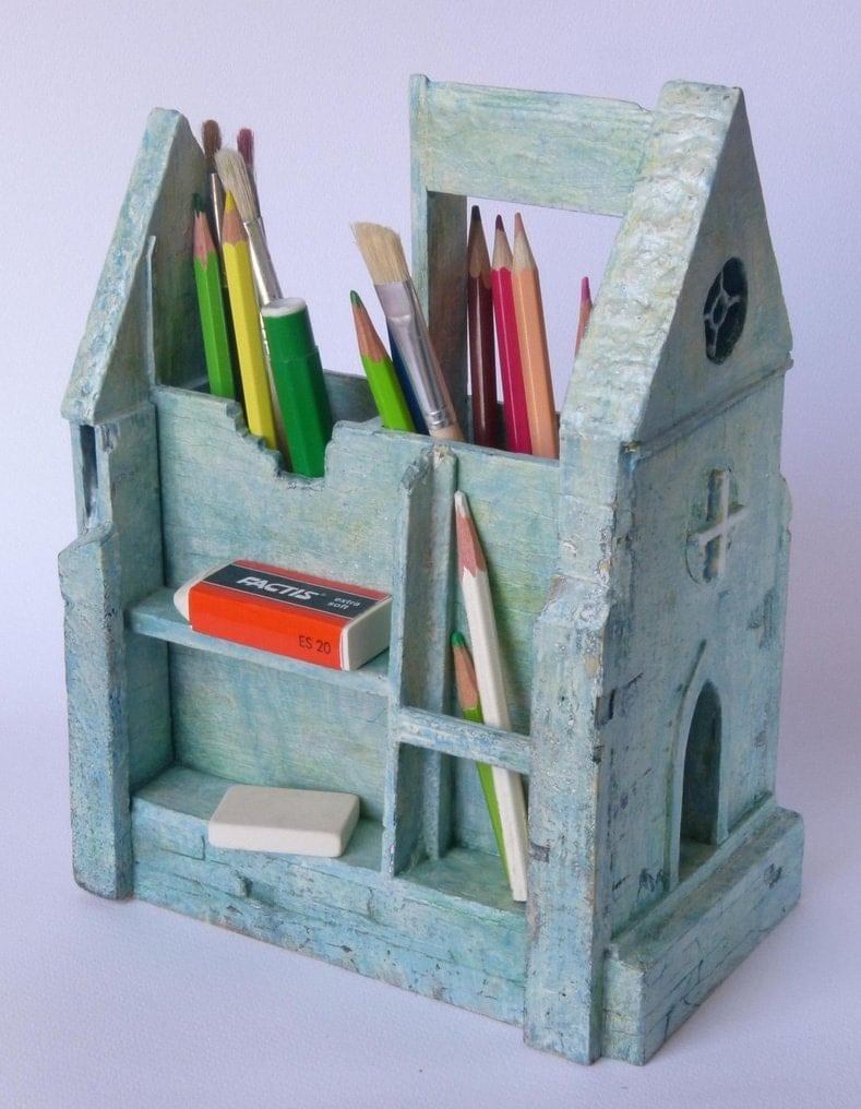 Pen Pencil Holder Desktop Organizer Ruins Of Cathedral Home
