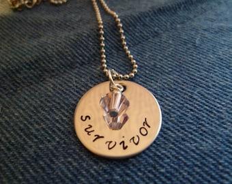 Breast Cancer or Domestic Abuse Survivor Necklace