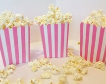 12 Pink Striped Personalized Mini Popcorn Boxes - Party Packs Available