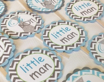 12 Mustache Bash Little Man Cupcake Toppers - Baby Blue and Gray Chevron with Lime Green Accents - Party Packs Available