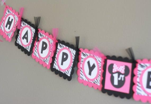 Fiesta paquete especial minnie mouse rosa cebra negra - Decoracion en cebra ...