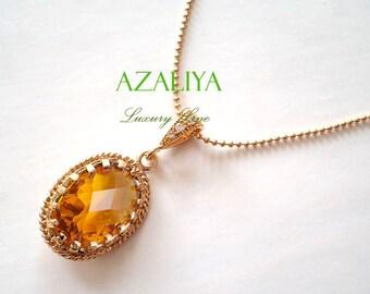 Topaz Amber November Birthstone Necklace Gold Vermeil Zirconia Bail. Azaliya Luxury Line. Bridesmaid Gift. Orange, Tourmaline, Caramel.