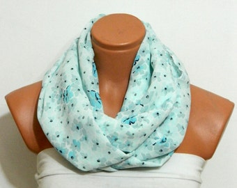 Infinity Scarf,Loop Scarf,Circle Scarf, baby blue chiffon fabric Scarf,Cowl Scarf,Nomad Cowl.