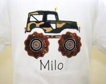 Boys Camo Jeep Applique Shirt - Customizable - Personalized - Muddy Camo Jeep Applique - Boys Birthday Shirt