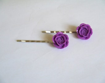 Silver Plated Purple Rose Hair Clips