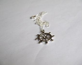 Silver Ships Wheel Necklace