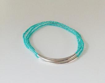 Turquoise bracelet, seed bead bracelet, aqua bracelet, stretchy bracelet,teal seed bead bracelet, beaded bracelet, bridesmaid gift